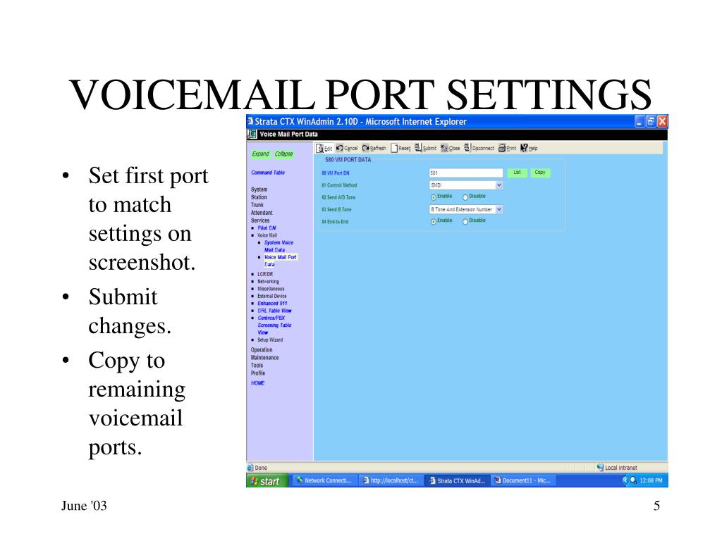VOICEMAIL PORT SETTINGS