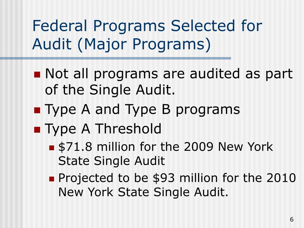Federal Programs Selected for Audit (Major Programs)
