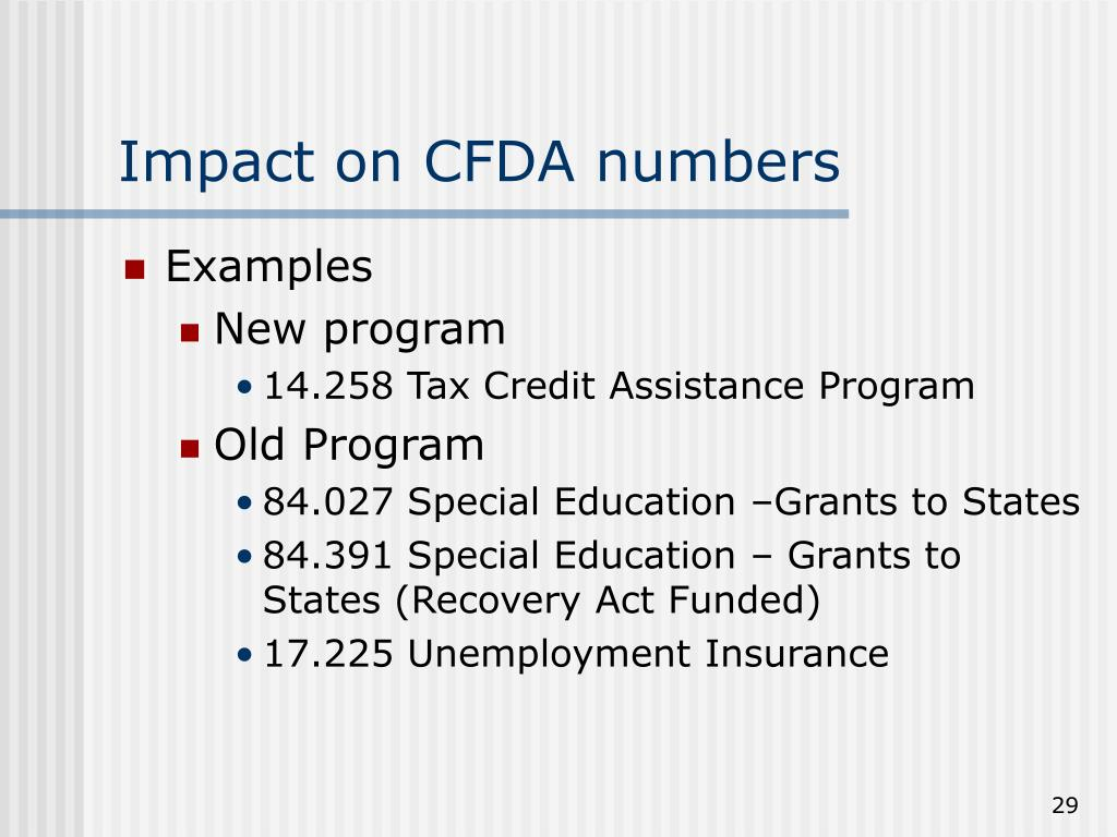 Impact on CFDA numbers