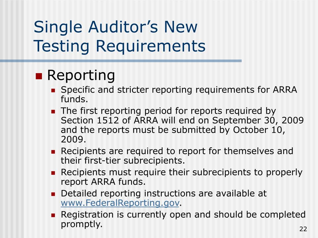 Single Auditor's New