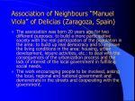 association of neighbours manuel viola of delicias zaragoza spain