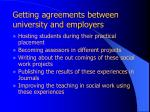 getting agreements between university and employers