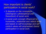 how important is clients participation in social work