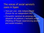 the voices of social service s users in spain