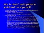 why is clients participation in social work so important4