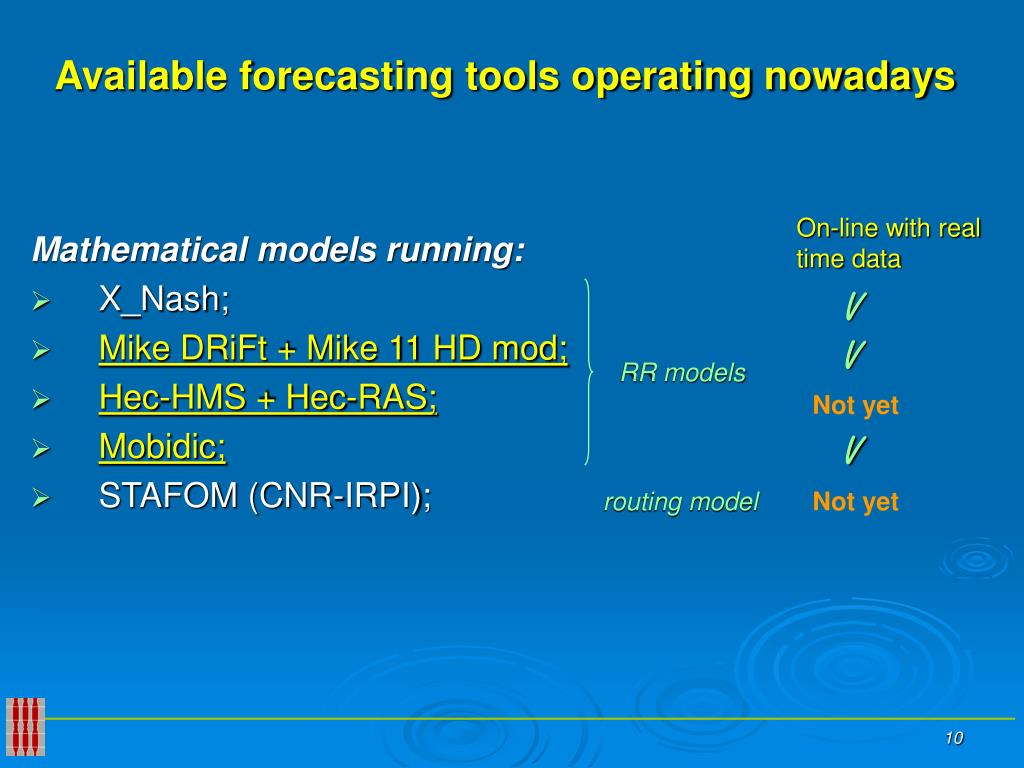 Available forecasting tools operating nowadays