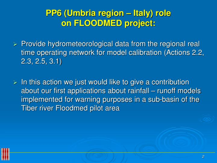 Pp6 umbria region italy role on floodmed project