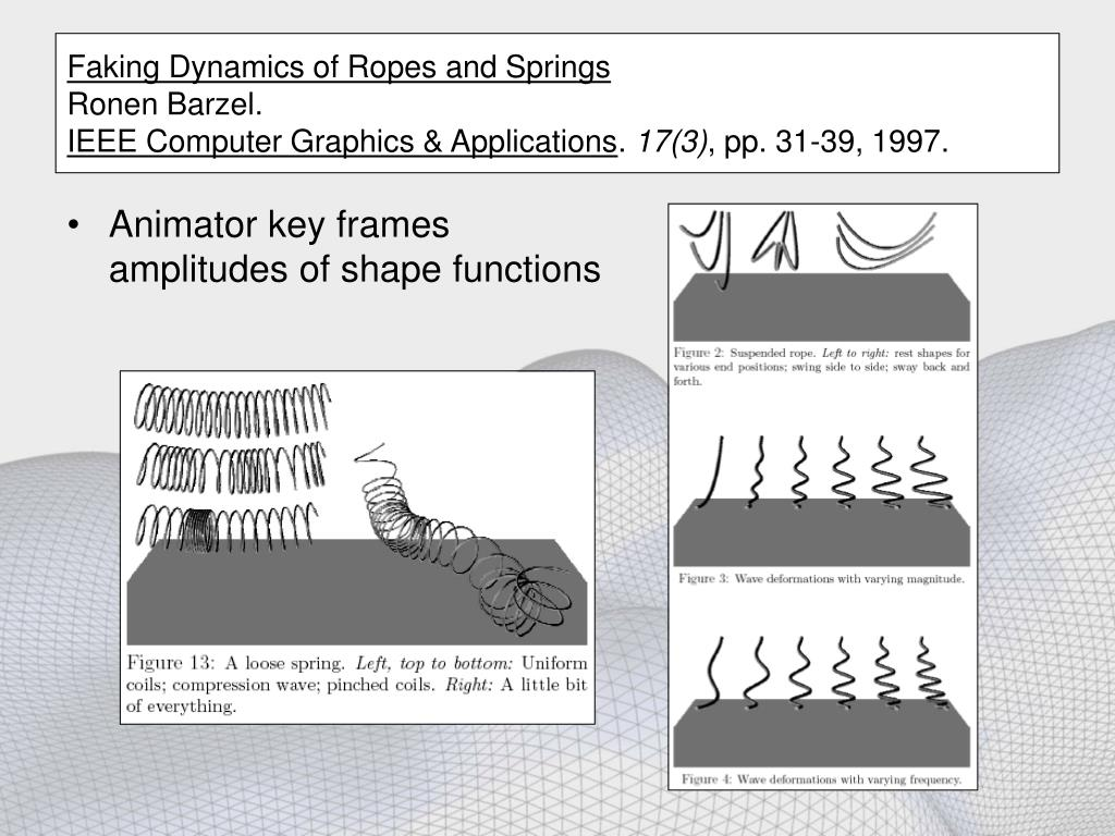Faking Dynamics of Ropes and Springs