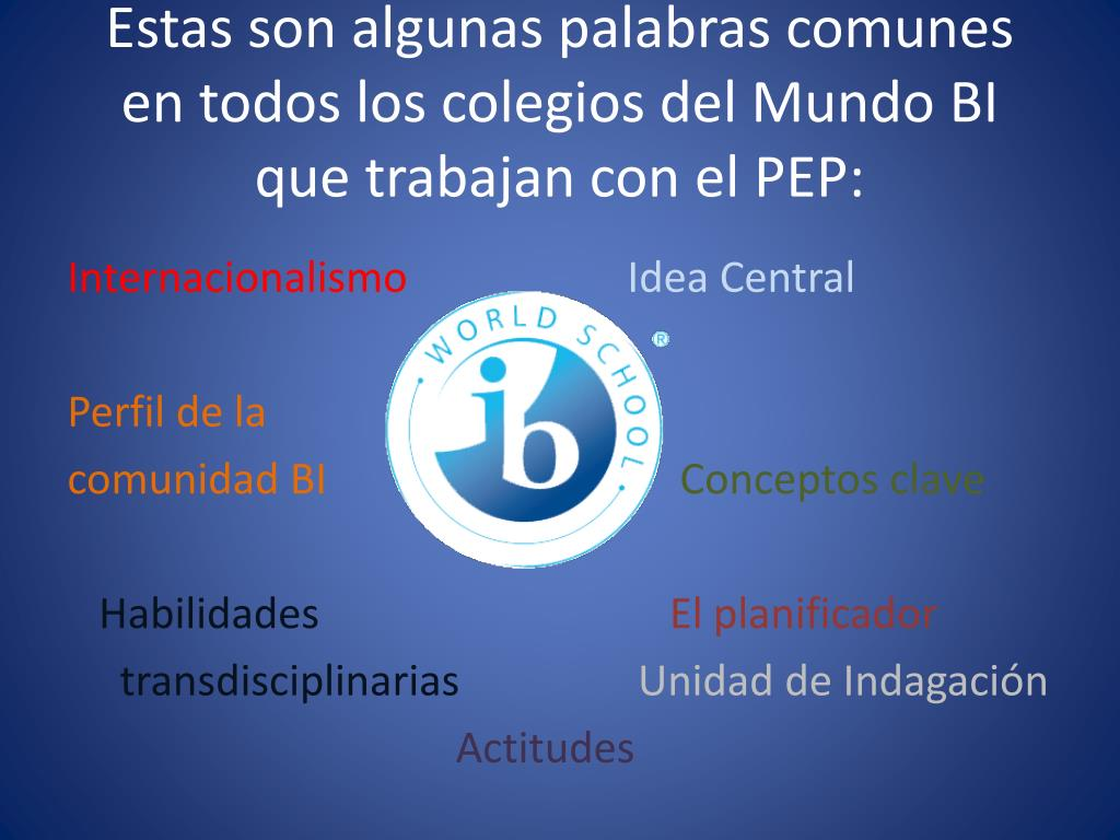 Estas son algunas palabras comunes en todos los colegios del Mundo BI que trabajan con el PEP: