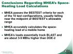 conclusions regarding mhea s space heating load calculations