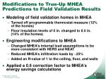 modifications to true up mhea predictions to field validation results