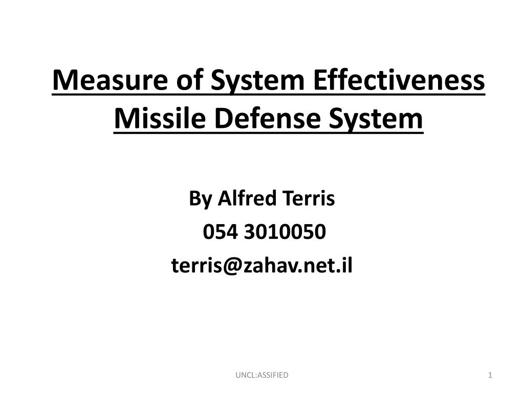 Measure of System Effectiveness