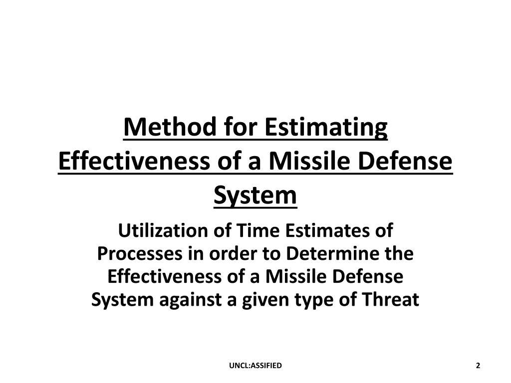 Method for Estimating Effectiveness of a Missile Defense System