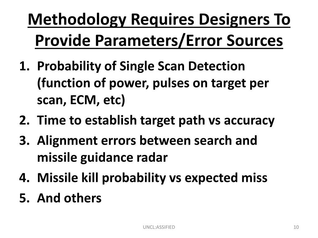 Methodology Requires Designers To Provide Parameters/Error Sources