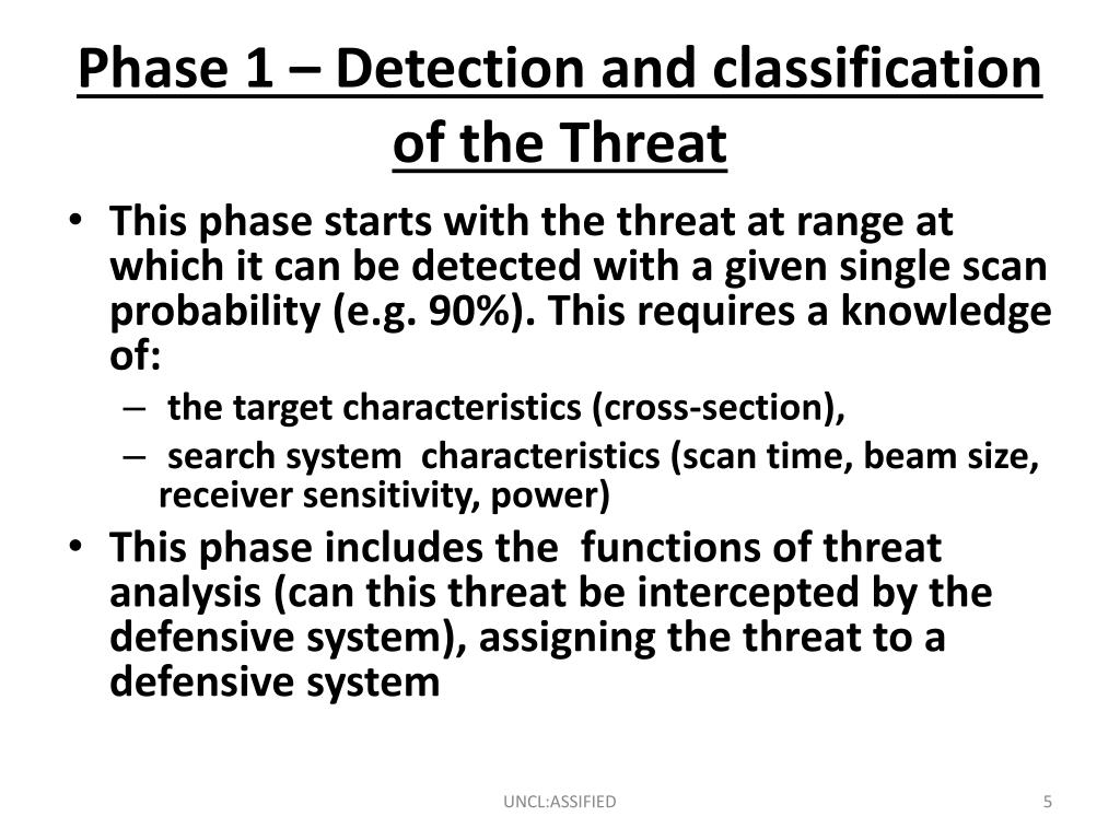 Phase 1 – Detection and classification of the Threat