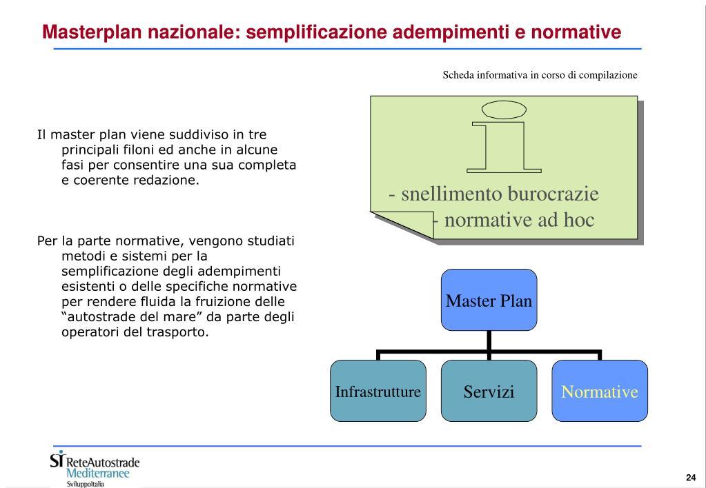 Masterplan nazionale: semplificazione adempimenti e normative