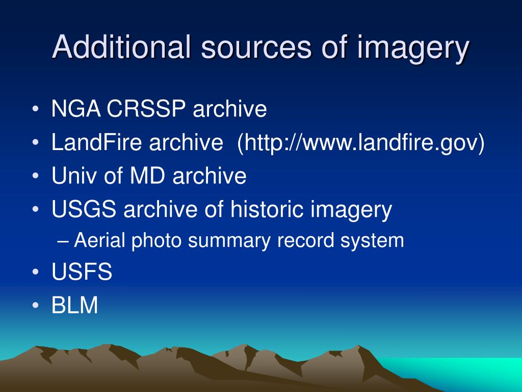 Additional sources of imagery