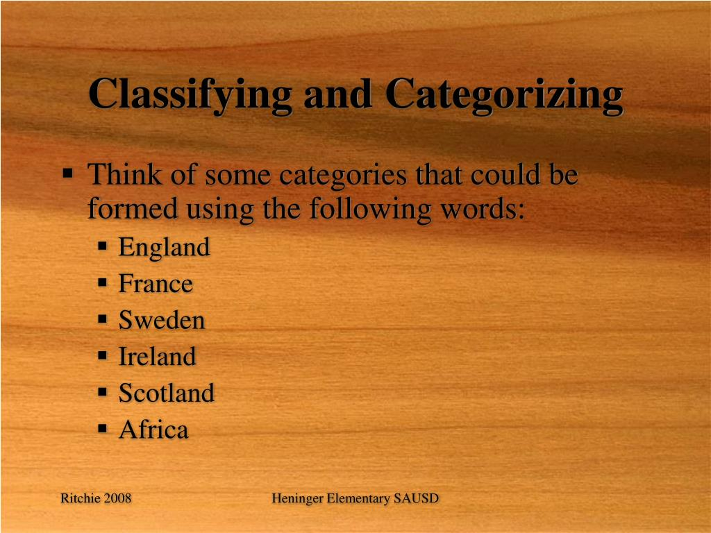 Classifying and Categorizing