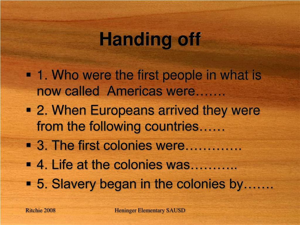 Handing off