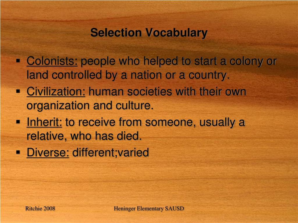 Selection Vocabulary