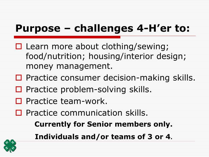 Purpose challenges 4 h er to
