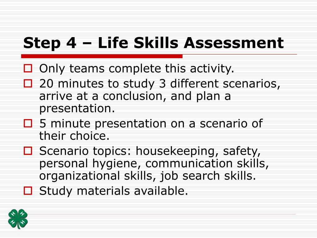 Step 4 – Life Skills Assessment