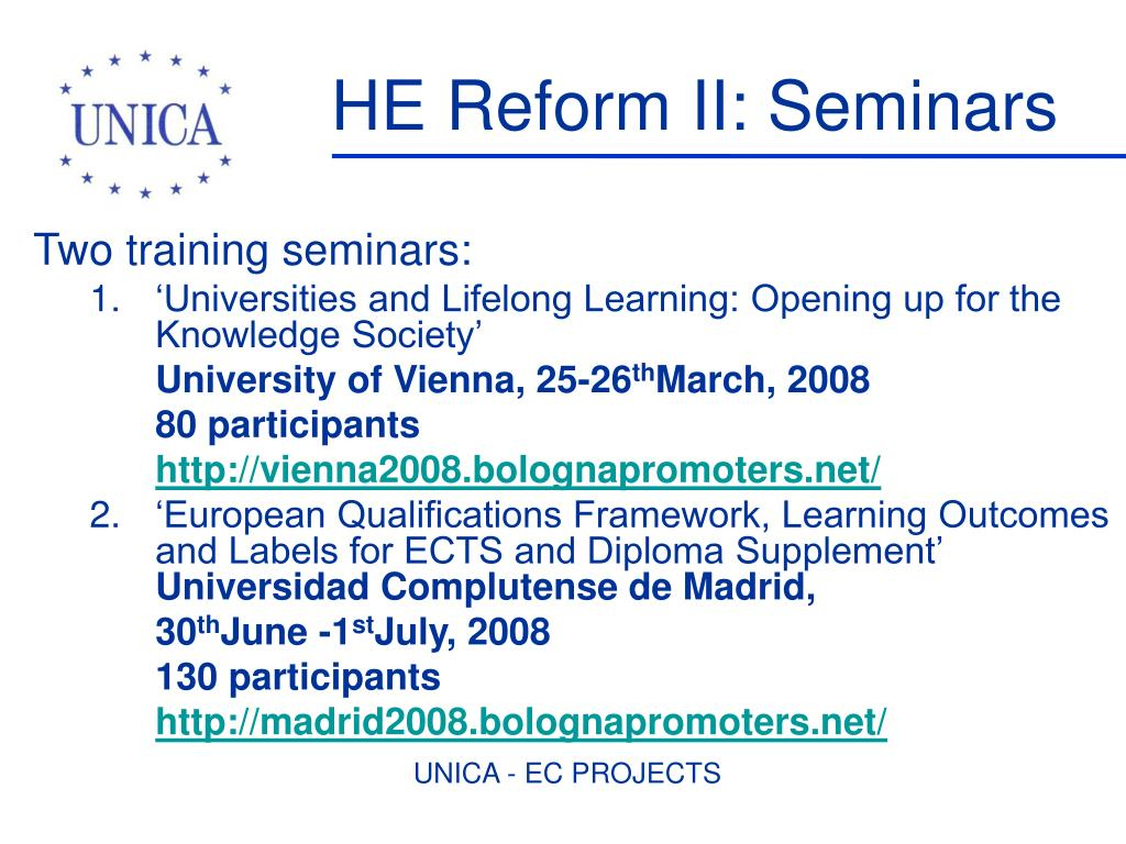 HE Reform II: Seminars