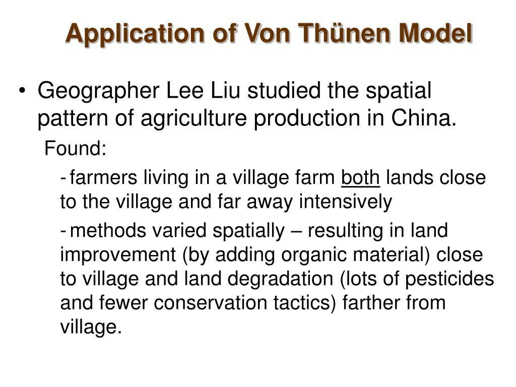 Application of Von Thünen Model