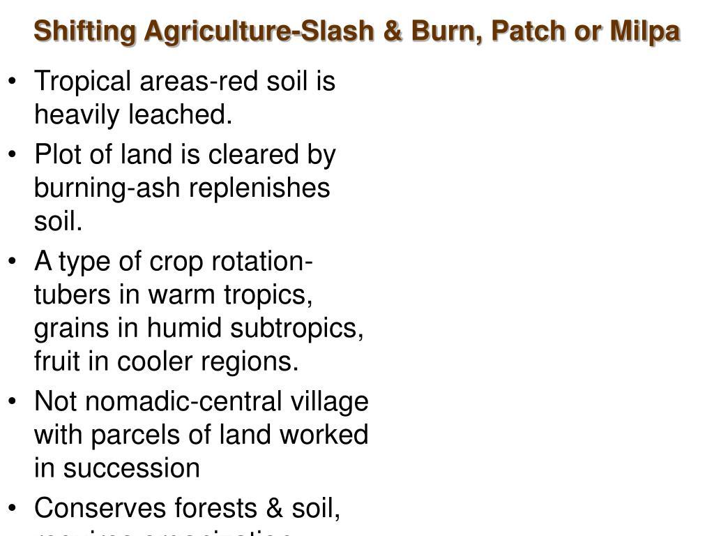 Shifting Agriculture-Slash & Burn, Patch or Milpa