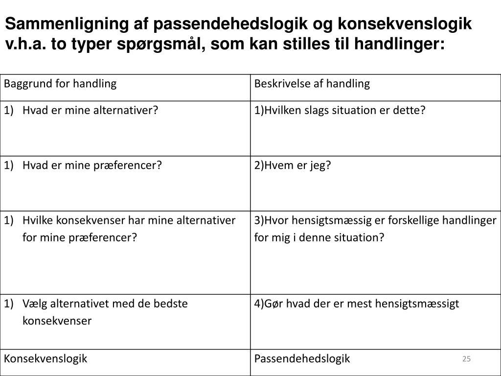 Sammenligning af passendehedslogik og konsekvenslogik v.h.a. to typer spørgsmål, som kan stilles til handlinger: