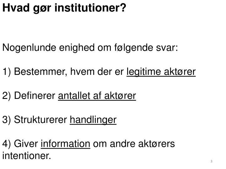 Hvad gør institutioner?