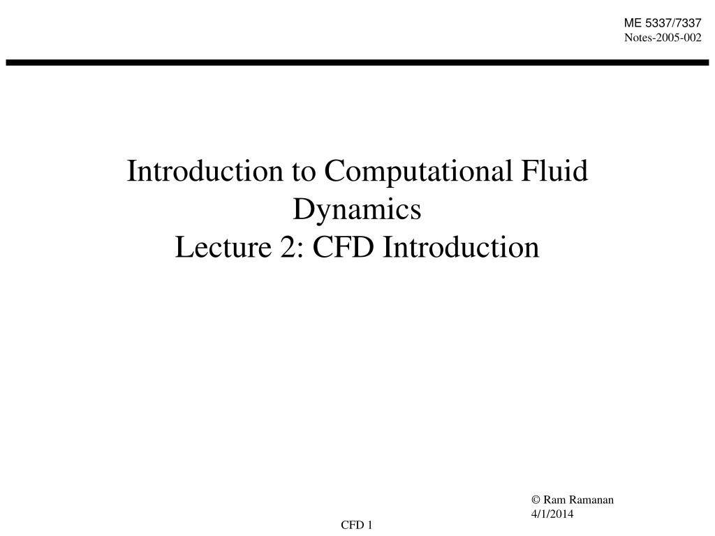 introduction to computational fluid dynamics lecture 2 cfd introduction