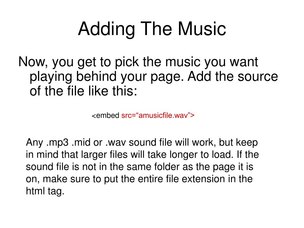 Adding The Music