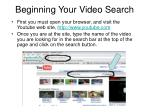beginning your video search