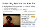 embedding the code into your site