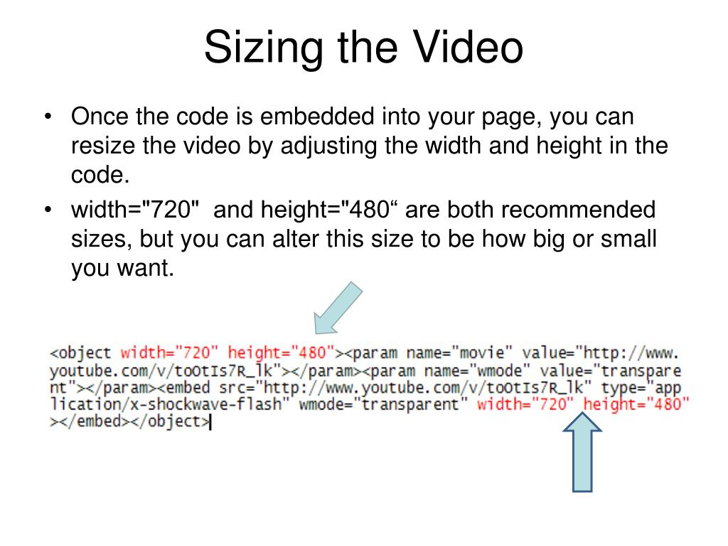 Sizing the Video