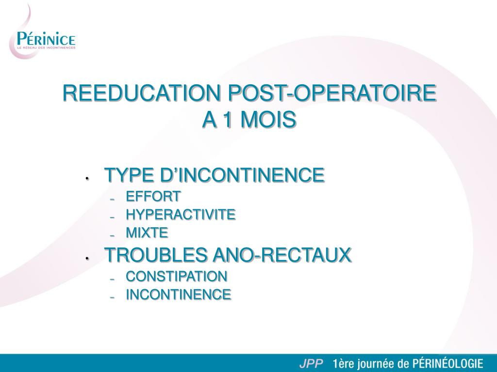 TYPE D'INCONTINENCE