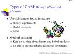 types of cam biologically based therapies