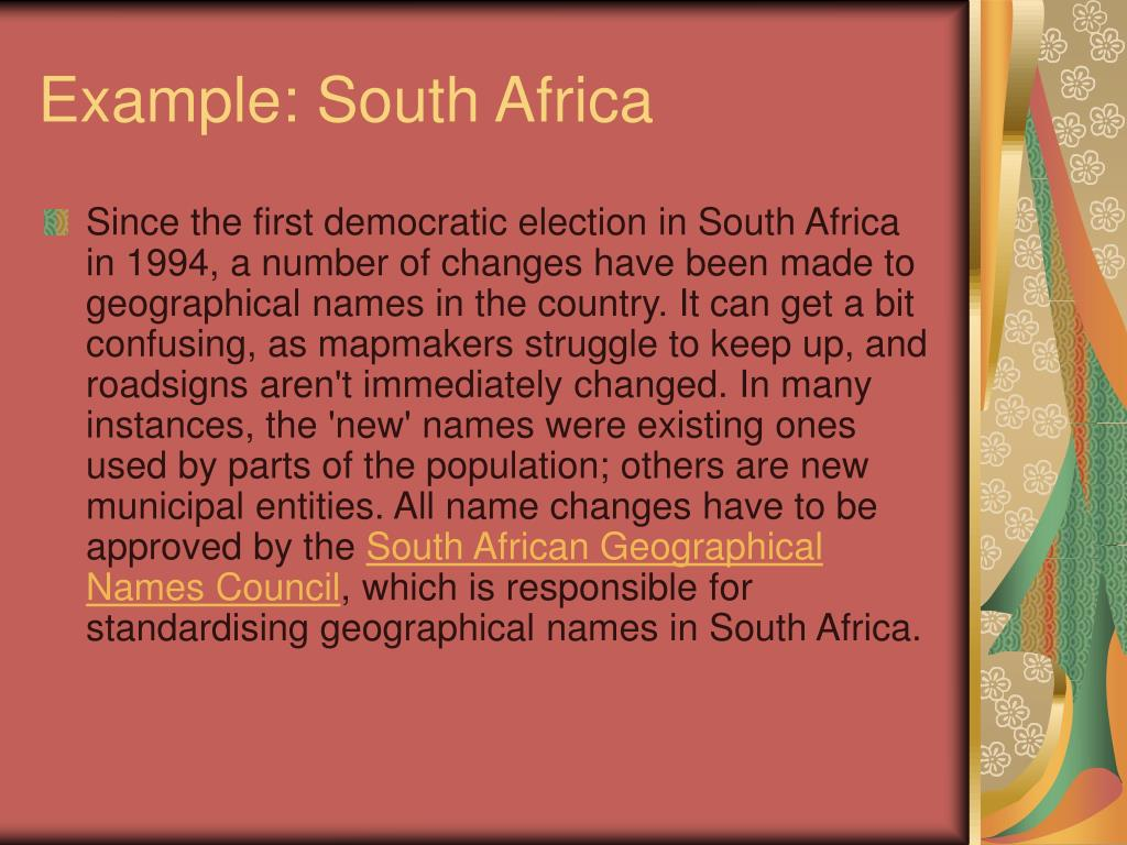 Example: South Africa