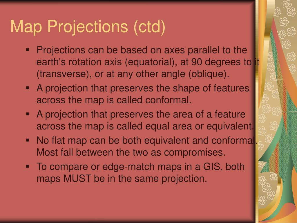 Map Projections (ctd)