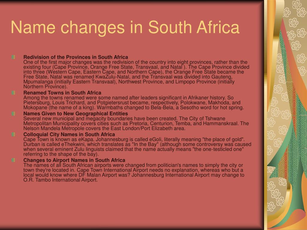 Name changes in South Africa
