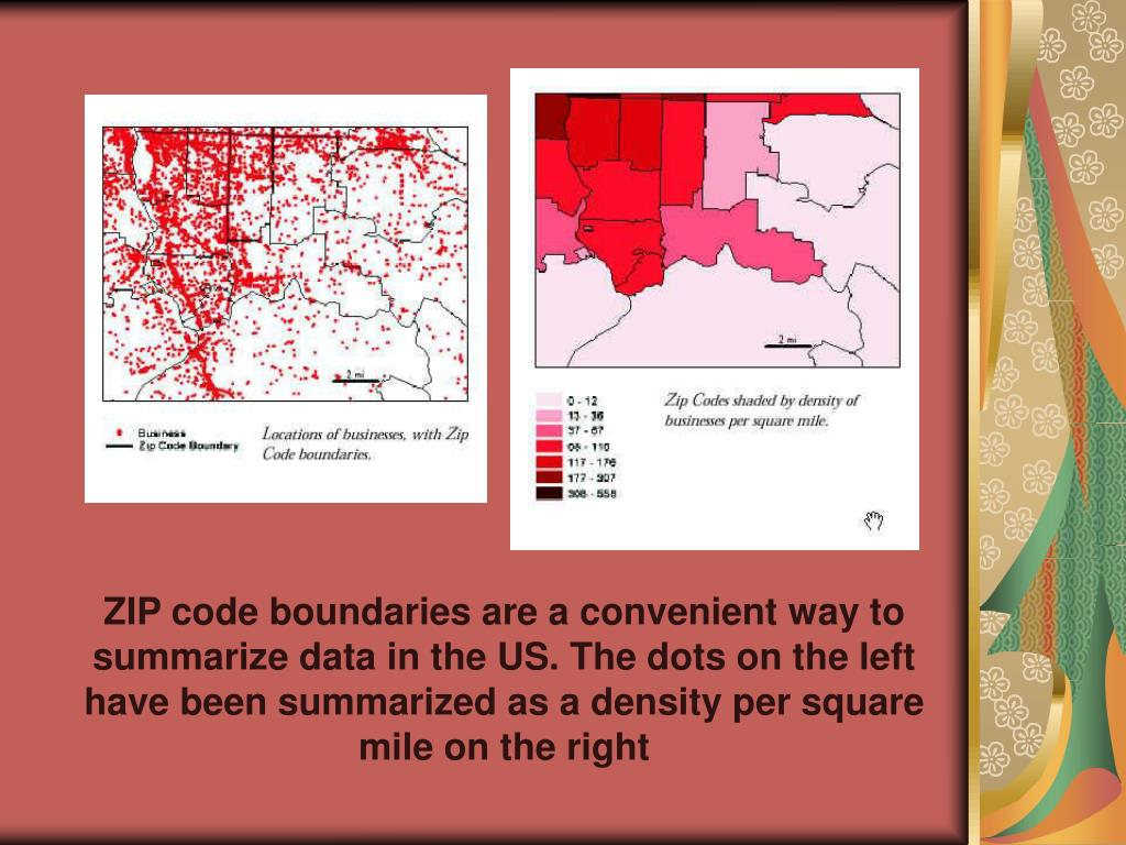 ZIP code boundaries are a convenient way to summarize data in the US. The dots on the left have been summarized as a density per square mile on the right