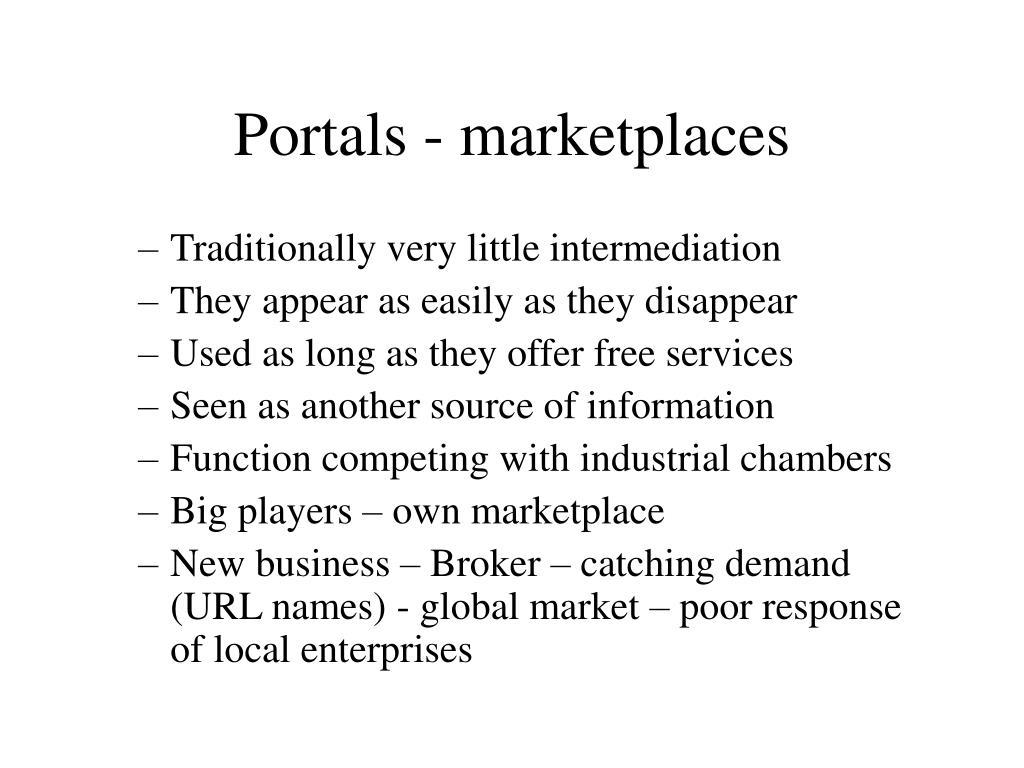 Portals - marketplaces