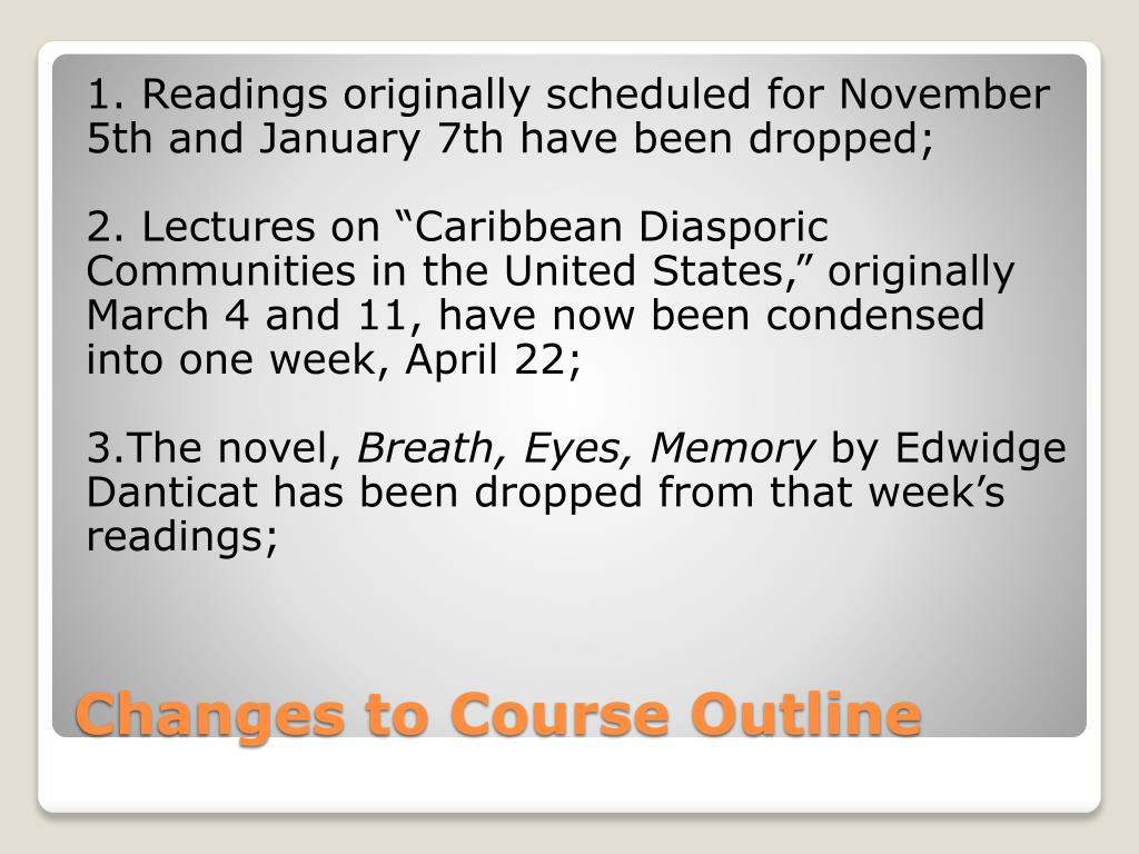 1. Readings originally scheduled for November