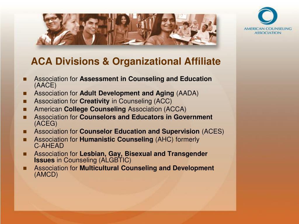 ACA Divisions & Organizational Affiliate