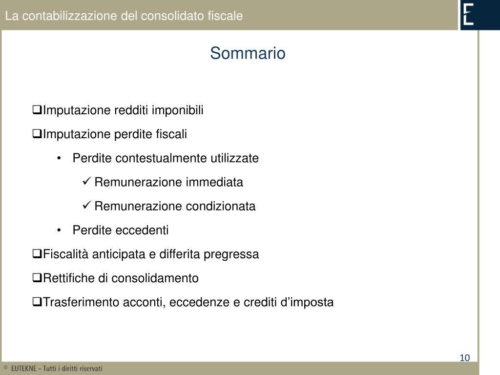 La contabilizzazione del consolidato fiscale