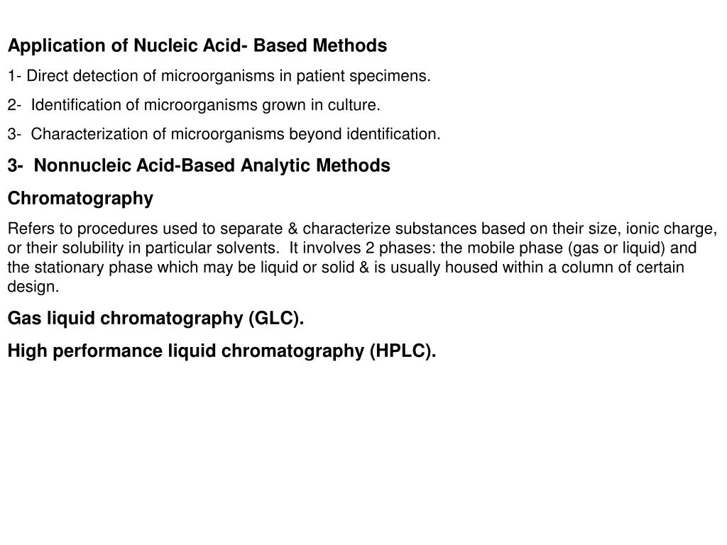 Application of Nucleic Acid- Based Methods