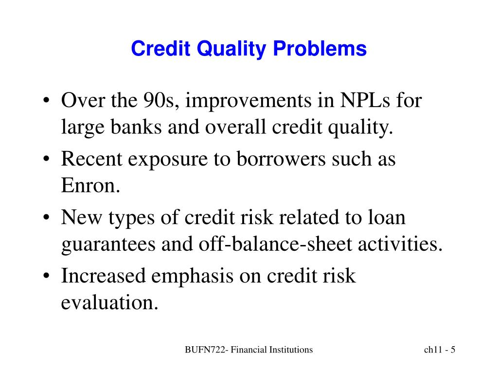 Credit Quality Problems