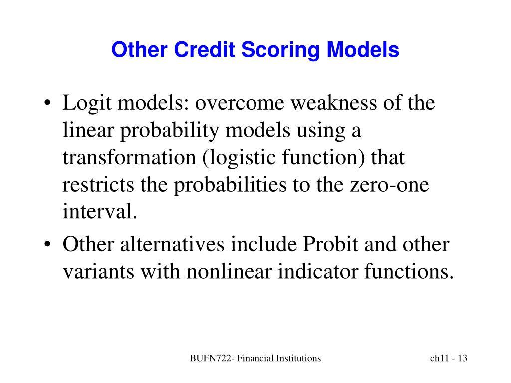 Other Credit Scoring Models