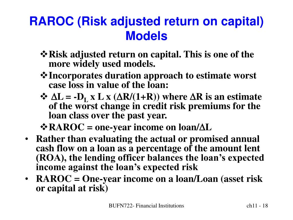RAROC (Risk adjusted return on capital) Models